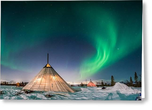 Aurora Above Sami Tent Greeting Card by Alex Conu
