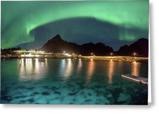 Aurora Above Turquoise Waters Greeting Card