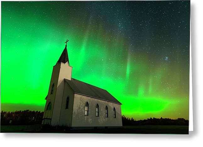 Aurora And Country Church Greeting Card