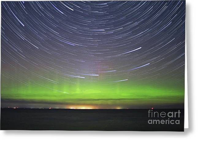 Aurora And Startrails Greeting Card by Charline Xia