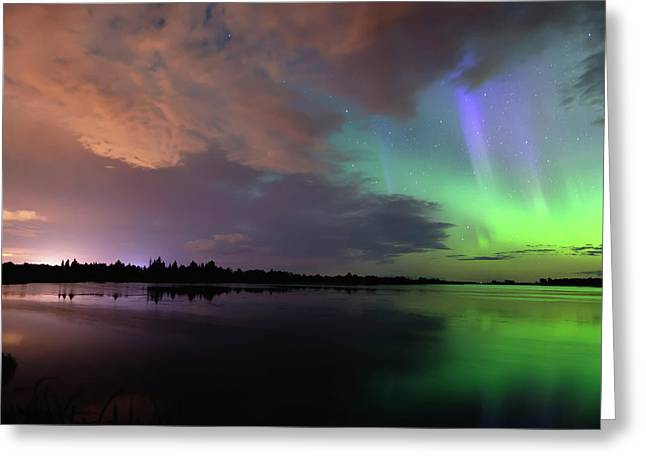 Aurora And Storm Clouds Greeting Card