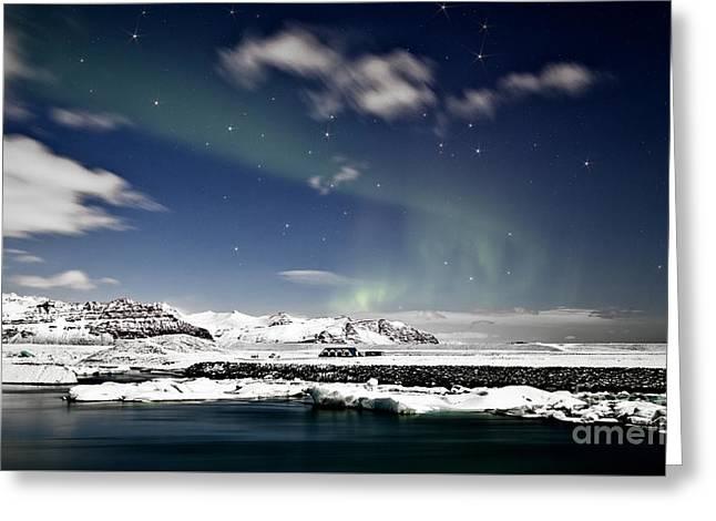 Aurora At Glacier Lagoon Greeting Card by Roddy Atkinson