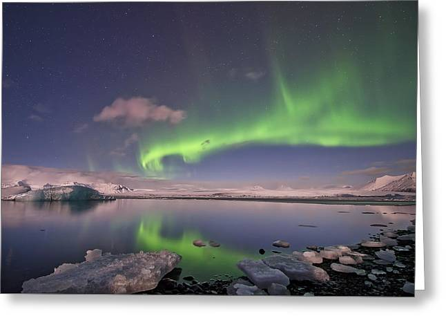 Aurora Borealis And Reflection #2 Greeting Card