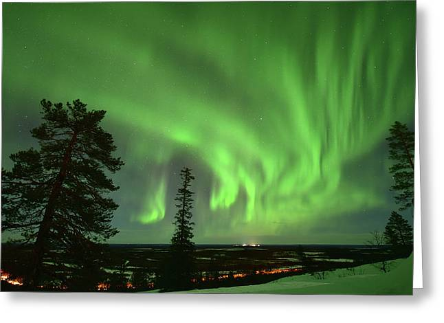 Aurora Borealis Greeting Card by Edwin Verin