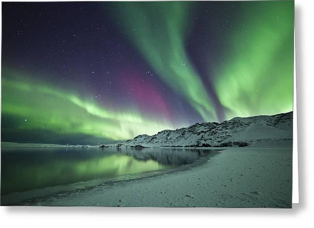 Aurora Borealis In Iceland Greeting Card by Arnar B Gudjonsson