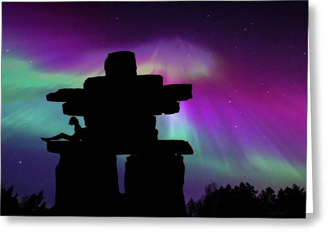 Aurora Borealis - Inukshuk - Northern Lights  Greeting Card by Andrea Kollo