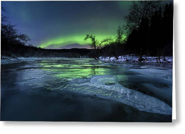 Reflections In River Greeting Cards - Aurora Borealis Over A Frozen Kvannelva Greeting Card by Arild Heitmann