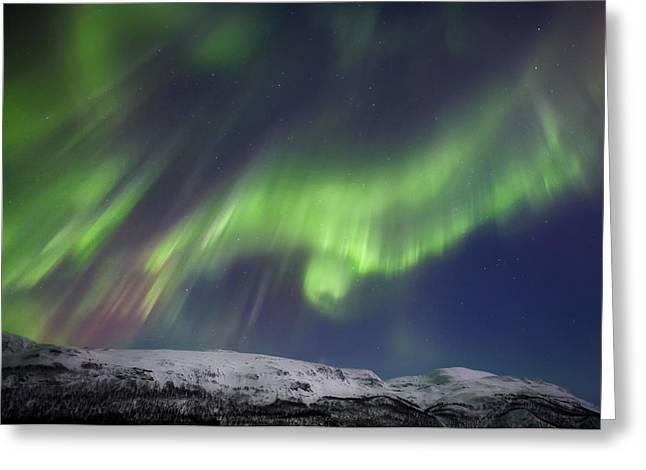 Aurora Borealis Over Blafjellet Greeting Card by Arild Heitmann
