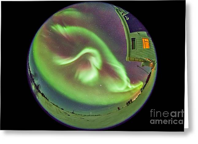 Aurora Borealis Over Churchill Greeting Card by Alan Dyer