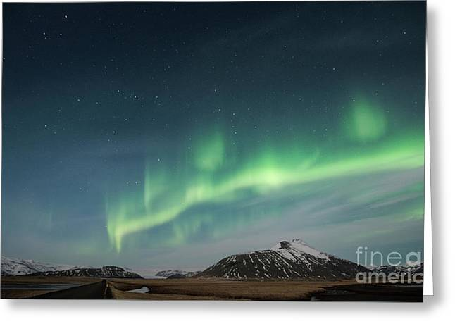 Aurora Borealis Over Iceland Greeting Card by Sandra Bronstein