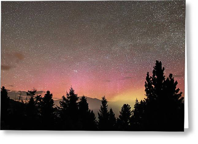 Aurora Borealis Over Mammoth Hot Springs In Yellowstone Np Greeting Card by Jean Clark