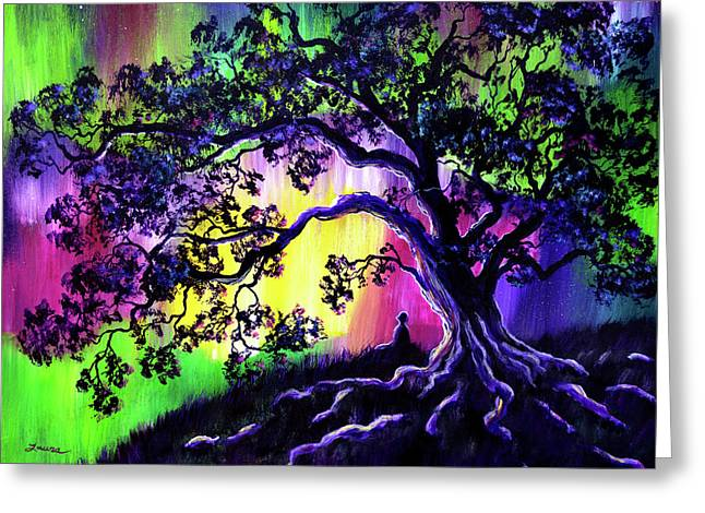Aurora Borealis Tree Of Life Meditation Greeting Card by Laura Iverson