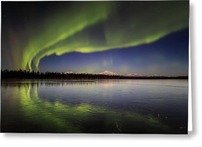 Aurora Lake Greeting Card by Ed Boudreau