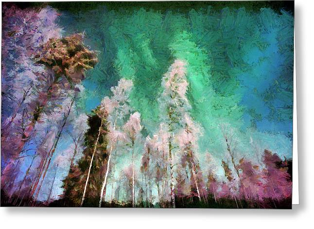 Aurora Landscape With Northen Lights.  Home Decor Wall Art Digital Painting Print  By Akos Horvath  Greeting Card
