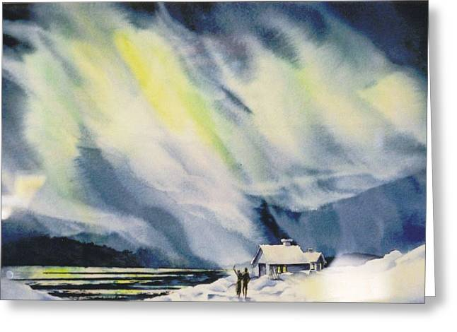 Aurora-lights Greeting Card by Nancy Newman