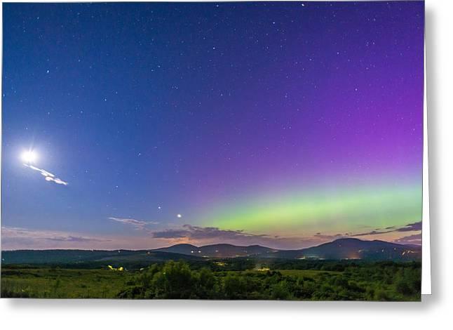 Aurora Moon Jupiter And Venus Greeting Card by Tim Sullivan