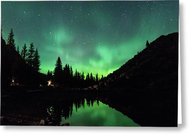 Aurora On Moraine Lake Greeting Card
