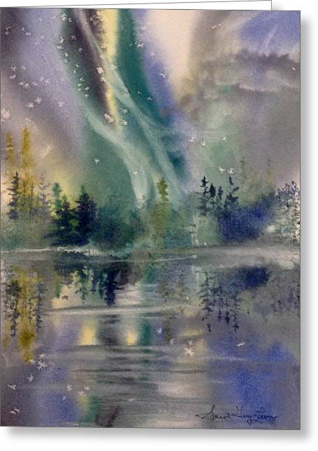 Aurora Over Alice Lake Greeting Card by Sarah Guy-Levar