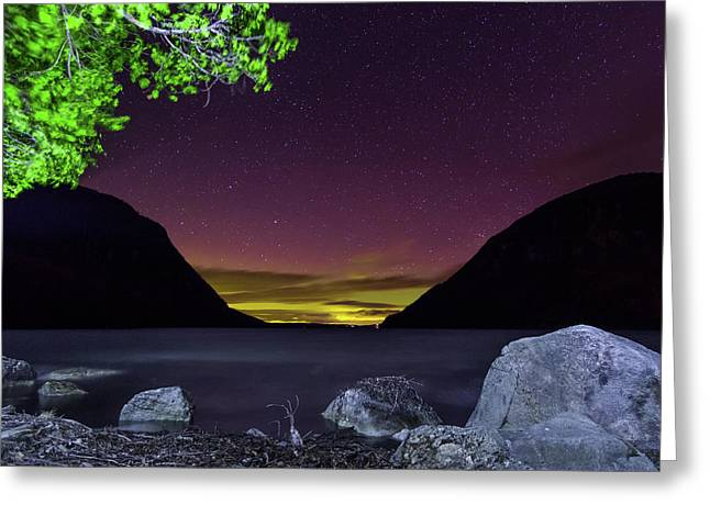 Aurora Over Lake Willoughby Greeting Card