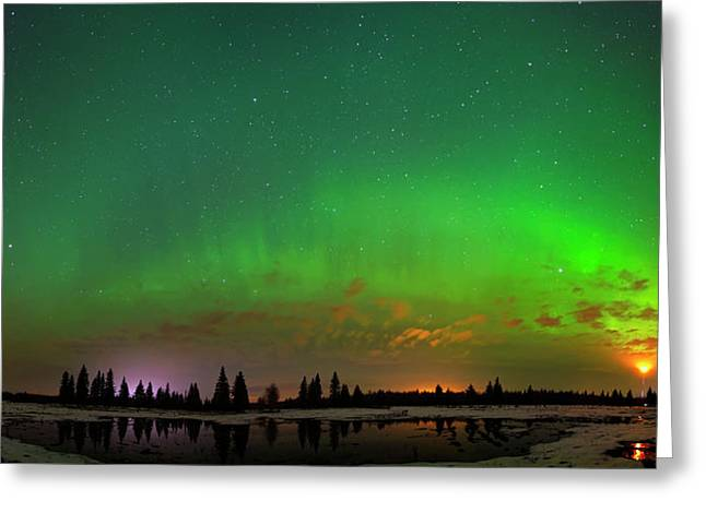 Aurora Over Pond Panorama Greeting Card
