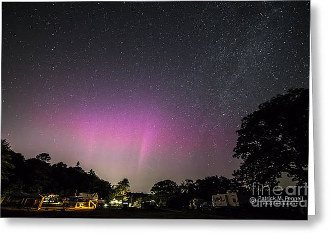 Aurora Over Sagadahoc Bay Campground Greeting Card by Patrick Fennell