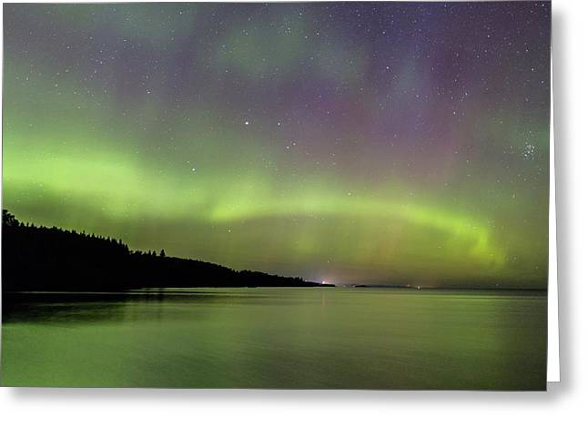 Greeting Card featuring the photograph Aurora Over Superior 7 by Paul Schultz