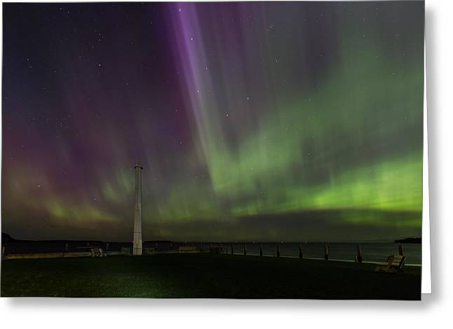 Greeting Card featuring the photograph Aurora Over The Harbor by Paul Schultz