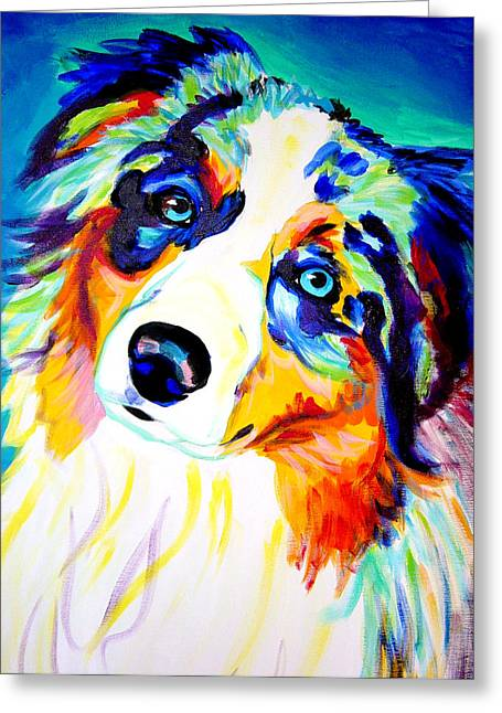Portrait Artwork Greeting Cards - Aussie - Moonie Greeting Card by Alicia VanNoy Call