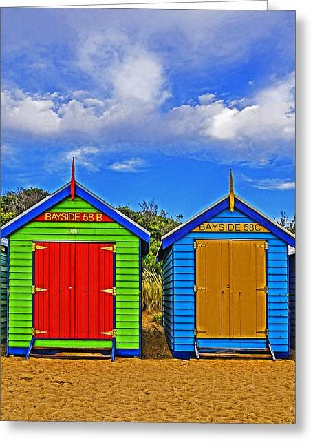 Aussie Beach Boxes Greeting Card by Dennis Cox WorldViews