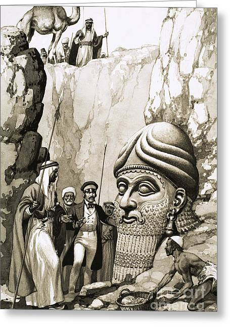 Austen Layard And The Statue Of Nimrud Greeting Card