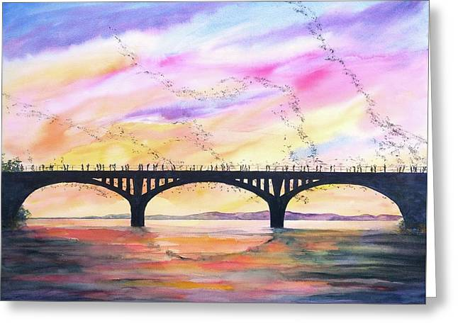Greeting Card featuring the painting Austin Bats Congress Bridge 2 by Carlin Blahnik CarlinArtWatercolor