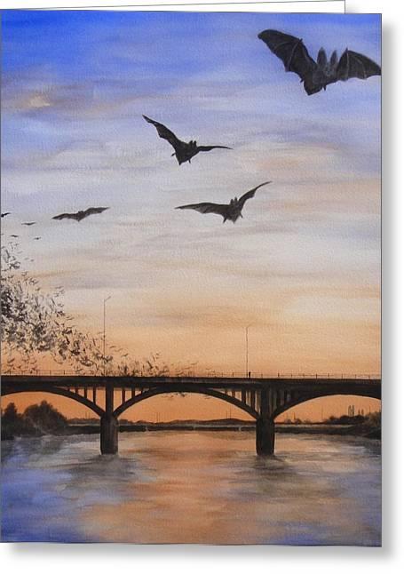 Austin Bats Take Flight Greeting Card