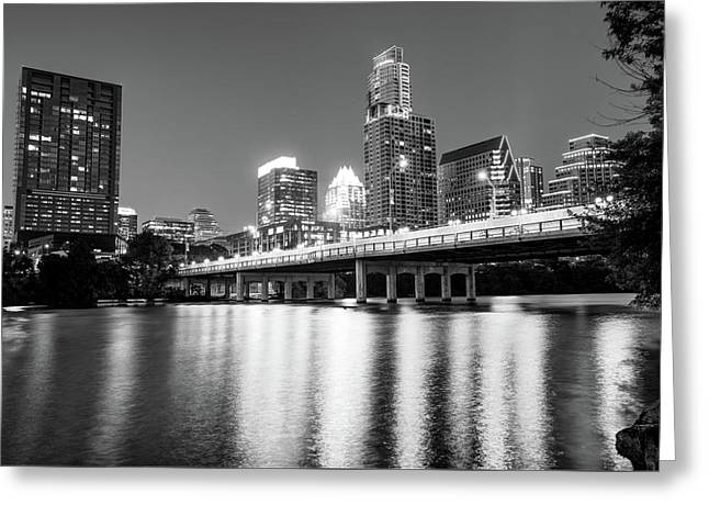 Greeting Card featuring the photograph Austin City Skyline And Congress Bridge In Black And White by Gregory Ballos
