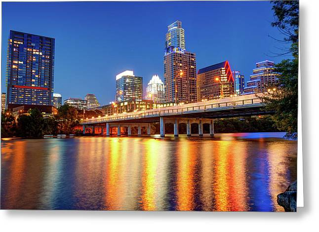 Austin City Skyline And Congress Bridge In Color Greeting Card
