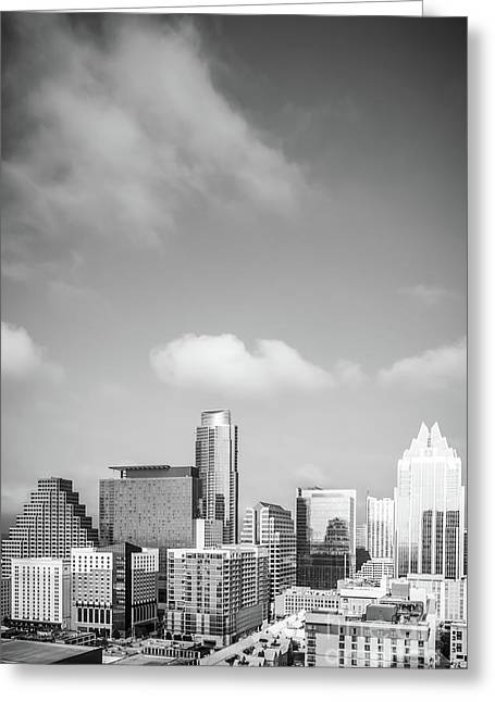 Austin Cityscape Black And White Photo Greeting Card by Paul Velgos
