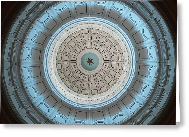 Austin Capitol Dome In Gray And Blue Greeting Card