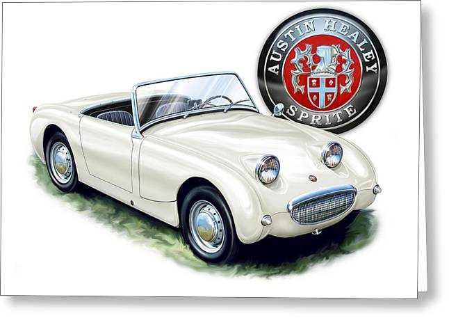 Austin Healey Bug Eye White Greeting Card by David Kyte
