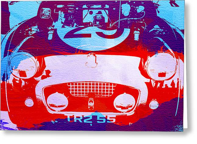 Cylinder Greeting Cards - Austin Healey bugeye Greeting Card by Naxart Studio