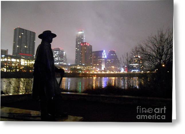 Austin Hike And Bike Trail - Iconic Austin Statue Stevie Ray Vaughn - One Greeting Card