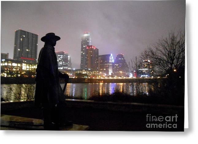 Austin Hike And Bike Trail - Iconic Austin Statue Stevie Ray Vaughn - One Greeting Card
