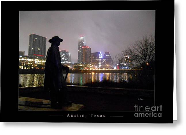 Austin Hike And Bike Trail - Iconic Austin Statue Stevie Ray Vaughn - One Greeting Card Poster Greeting Card by Felipe Adan Lerma