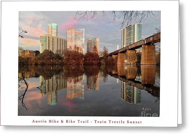 Austin Hike And Bike Trail - Train Trestle 1 Sunset Left Greeting Card Poster - Over Lady Bird Lake Greeting Card by Felipe Adan Lerma