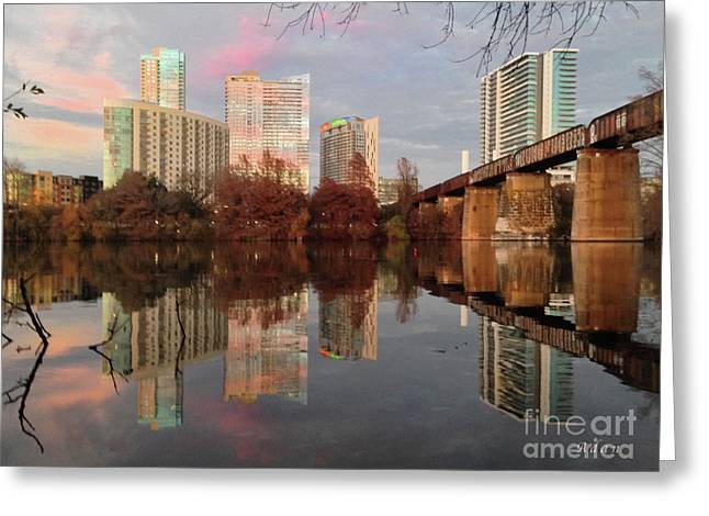 Austin Hike And Bike Trail - Train Trestle 1 Sunset Triptych Left Greeting Card
