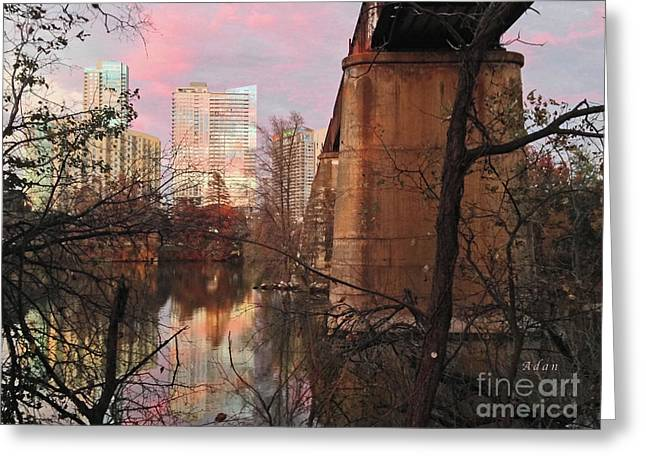 Austin Hike And Bike Trail - Train Trestle 1 Sunset Triptych Middle Greeting Card by Felipe Adan Lerma