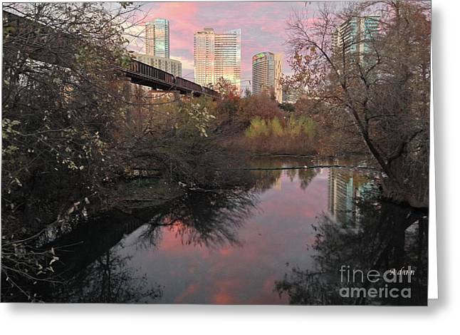 Austin Hike And Bike Trail - Train Trestle 1 Sunset Triptych Right Greeting Card by Felipe Adan Lerma