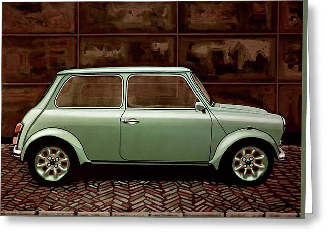 Austin Mini Cooper Mixed Media Greeting Card