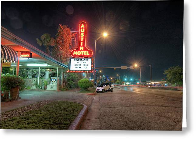 Austin Motel Greeting Card by John Maffei