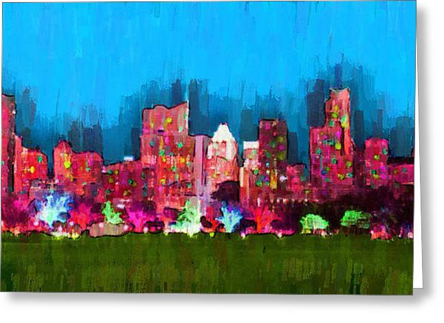 Austin Skyline 153 - Pa Greeting Card by Leonardo Digenio