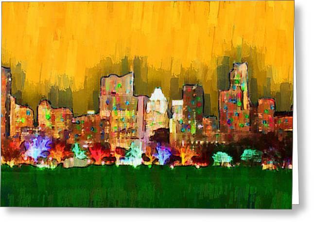 Austin Skyline 161 - Pa Greeting Card by Leonardo Digenio