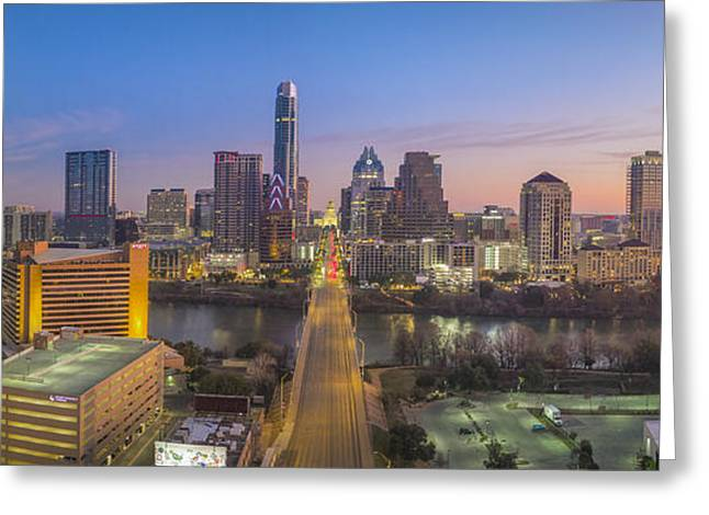 Austin Skyline Aerial View Pano From Congress 1 Greeting Card by Rob Greebon